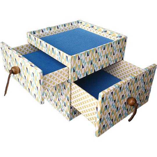 Cartonnage : boîte à secrets à tiroirs fabriquée à la main. Pièce unique fabriquée par l'Atelier de reliure dorure l'Arcade de Gutenberg à Le Puy en velay