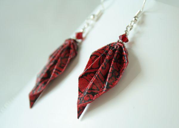 Boucle d'oreilles origami feuilles et perles