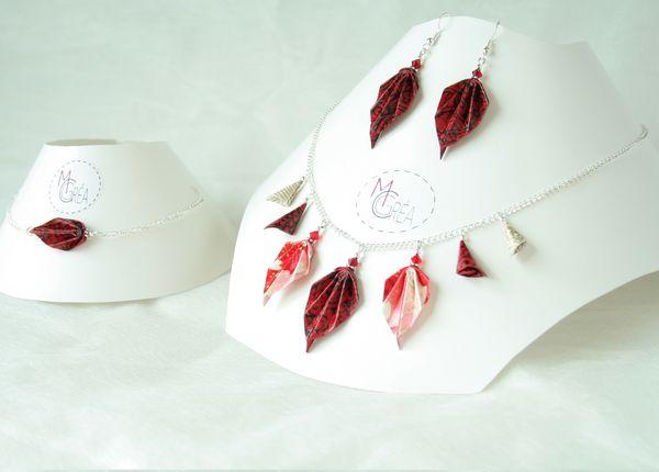 Parure origami feuilles.