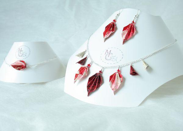 Parure origami feuilles et grappes.