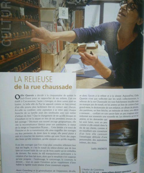 Le magasine Strada, Haute-Loire, fait par de sa rencontre avec Odile Quersin de l'Atelier de reliure du Puy en Velay.