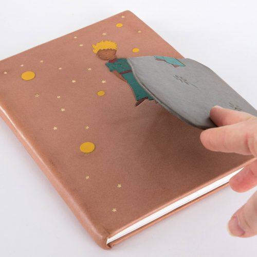 Livre Le Petit Prince reliure traditionnelle couverture cuir et marqueterie cuir